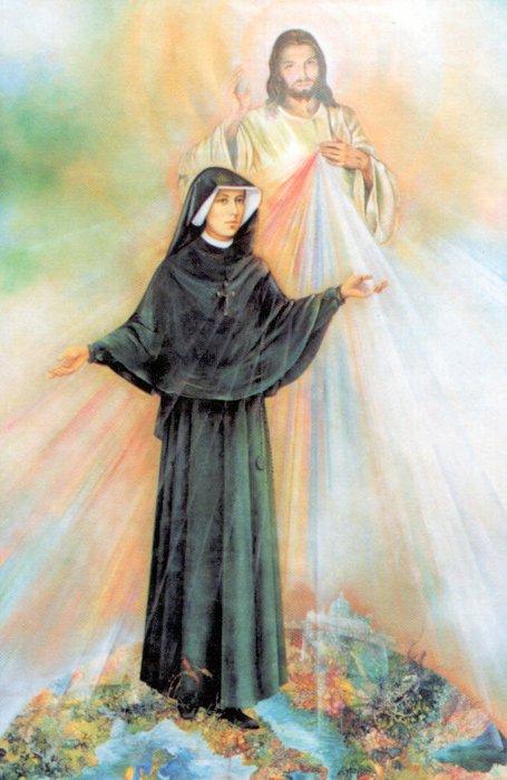 Faustine et le christ misericordieux en aquarelle